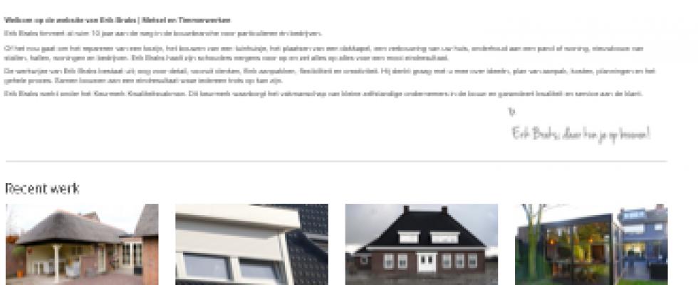 Webdesign | mastering | hosting van de website voor Erik Braks Timmer en Metselwerken. Zie www.erikbraks.nl