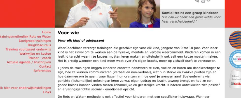 Buro Bravo heeft de ontwikkeling van de huisstijl begeleid | meegedacht betreft positionering | opzet en redigeren van de webteksten | opzet van de webindeling. www.weercoachbaar.nl